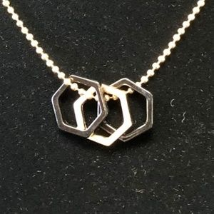 Jewelry - Gold and Black Metal Hexagon Shape Necklace